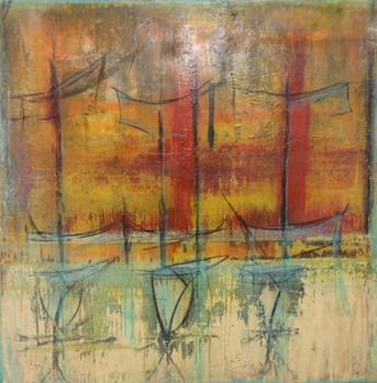 Dimension : 36 x 36- Médium : Acrylique et époxy sur bois