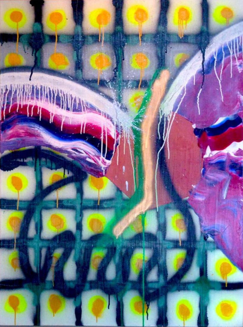Acrylique, latex acrylique, émail et huile sur toile, 3 x 4 pieds, 10-2012.