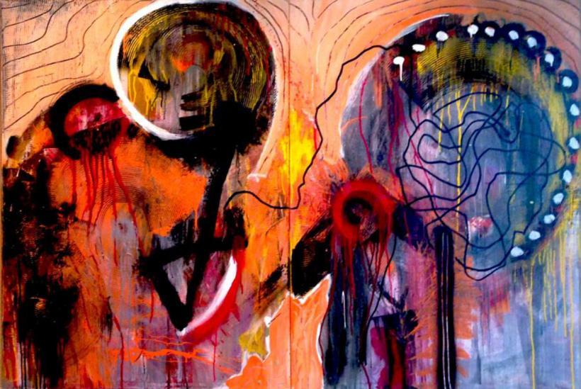 Acrylique, latex acrylique, émail et huile sur toile, 4 x 6 pieds, 08-2012.